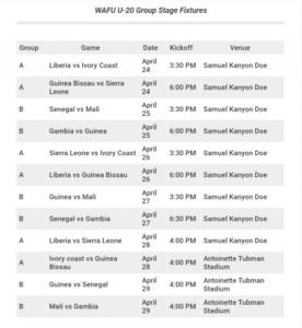 WAFU Schedule